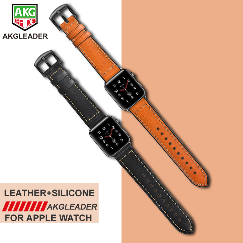 Watch Band For Apple Series 1 2 3 Real Leather With Silicone Watch Wrist Strap For Apple Series 4 iWatch Bracelet 38-40-42-44mm for apple watch series 4 iwatch band real carbon fiber watch straps for apple watch series 1 2 3 leahter bracelet 38 42 40 44mm