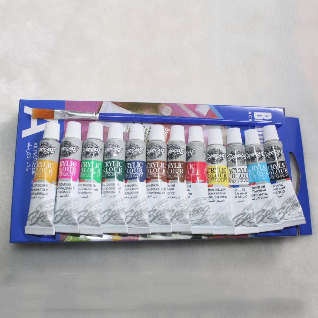 BLEL Hot 6 ML 12 Colors Professional Acrylic Paints Set Hand Painted Wall Painting Textile Paint Brightly Colored Art Supplies 18 colors 12ml acrylic paints set paints wall textile spray paint fabric paint art supplies with gift brush
