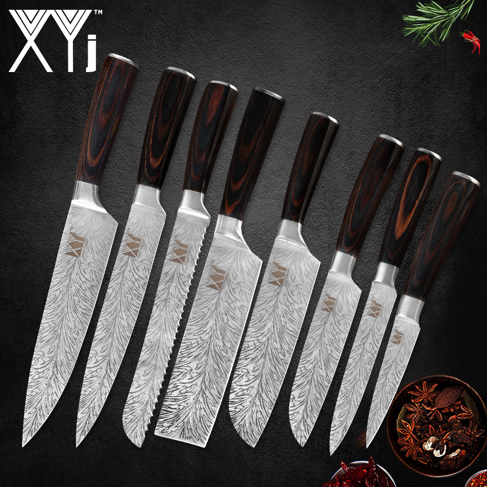 XYj 8 pcs נירוסטה סכין סט דמשק דפוס חד 7cr17 להב החלקה עץ ידית שף סכין בשר מטבח אבזר