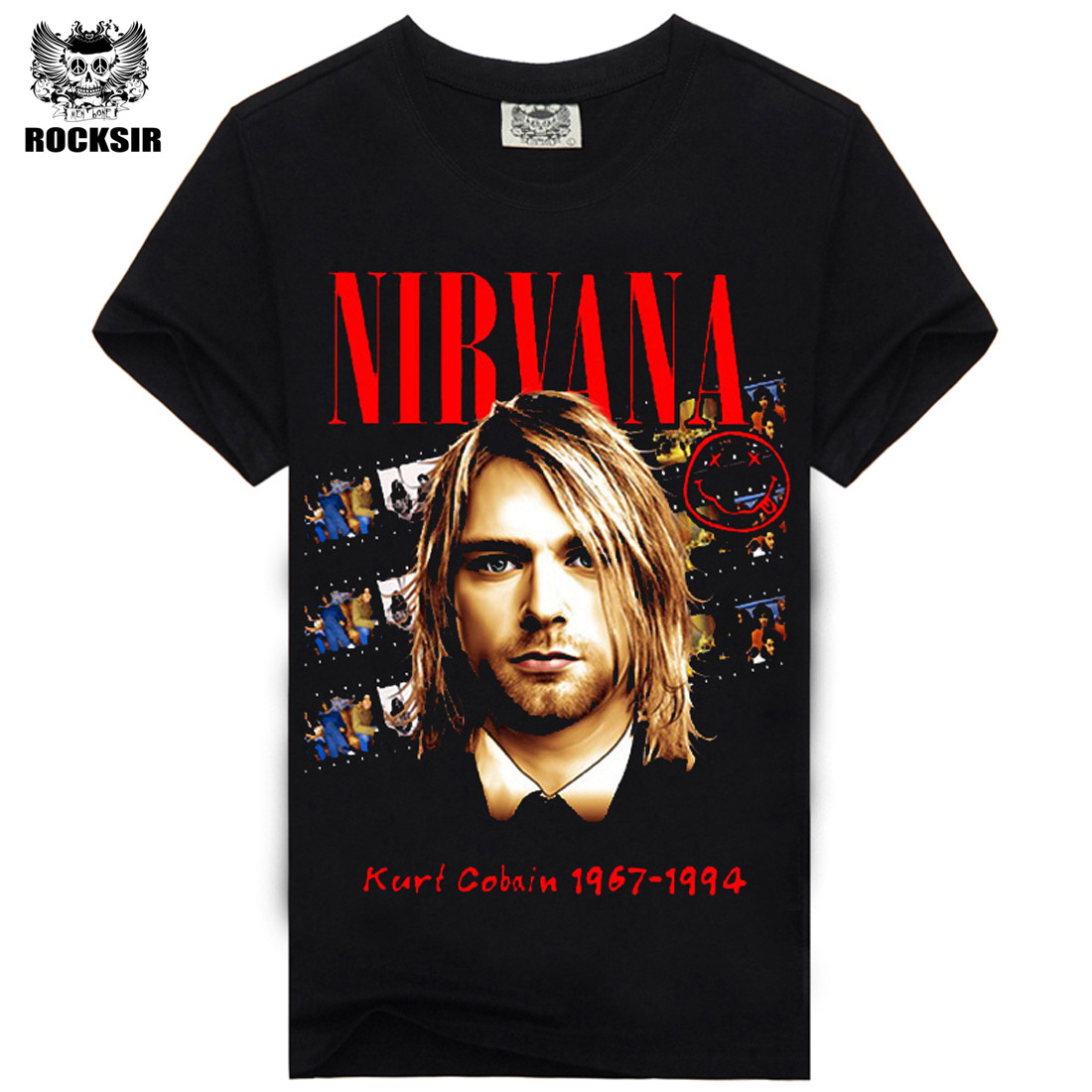 Rocksir Fashion short sleeve Heavy Metal black color rock band Nirvana t shirts hip pop t-shirt for men men's t-shirs