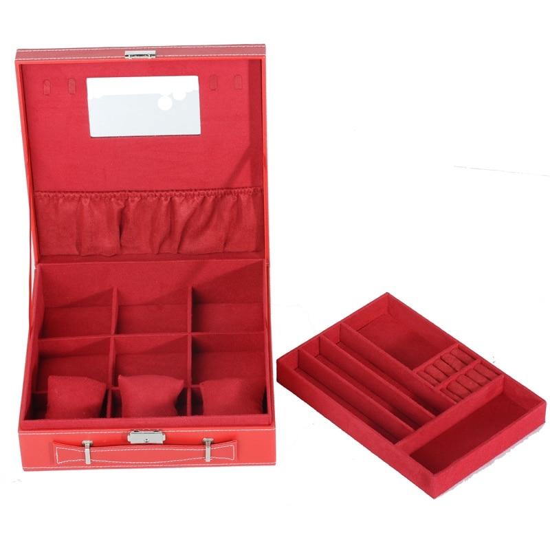European & American Style Jewelry Box Jewelry Storage Classification Storage Box Stainless Steel Safety Lock Jewelry Box