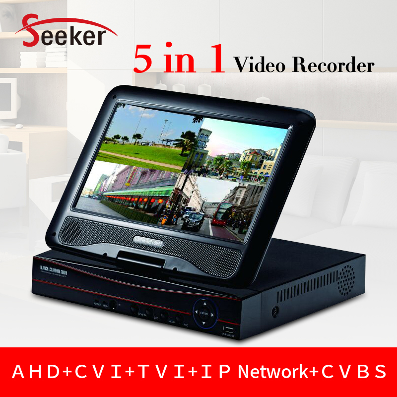 Free Shipping 4CH 1080N CCTV AHD DVR Video Recorder 4ch HDMI Output with 10.1 Inch LCD Screen 4ch Audio P2P Cloud