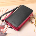Women's Short  Wallets Genuine Leather  Coin Purse Wristlets Handbags Mobile Phone Bag with Card holder  J8015
