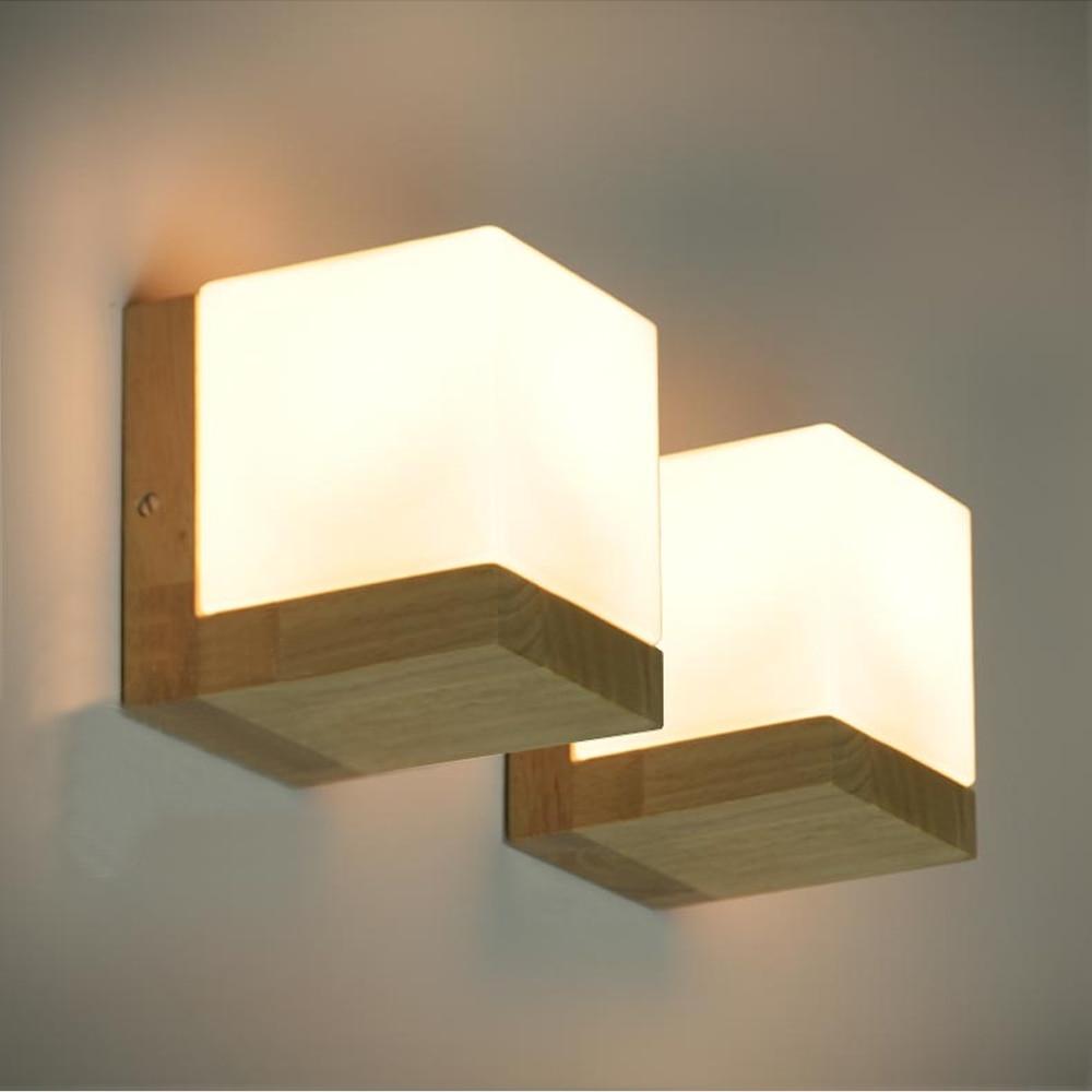 modern oak wood cube sugar shade wall lamp bedroom wooden glass wall