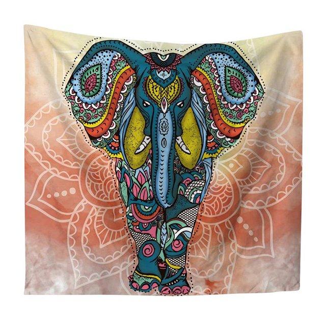 Bohemia Tapestry Mandala Indian Elephant Wall Hanging Blankets Home Decor Polyester Beach Towel Yoga Mat Photograph