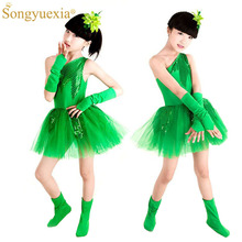 SONGYUEXIA Girls GREEN Latin Dance Skirt Show Performance Dress with Grass and Jasmine Flower Pattern Children Modern dress