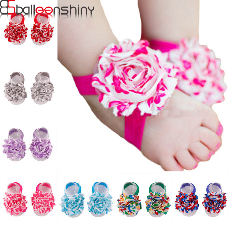 BalleenShiny Cute Baby Barefoot Sandals first walkers Flower Foot Toddler flower Shoes Baby Girls Accessories Photograph Pro