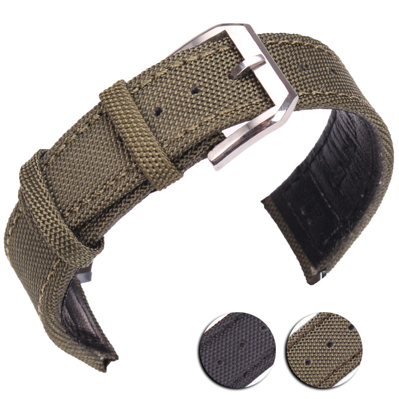 20mm 21mm 22mm Nylon + Genuine Leather Watchbands Men Women Green Black High Quality Watch Band Strap With Silver Pin Buckle 18 19 20 21 22mm 24mm watchbands belt men women black brown high quality genuine leather watch band strap deployment clasp