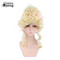 Deluxe Blonde Marie Antoinette Wig with Pink Ribbons Colonial Lady Curly Updo Hair Adult Women 18th Century Theatrical Wig