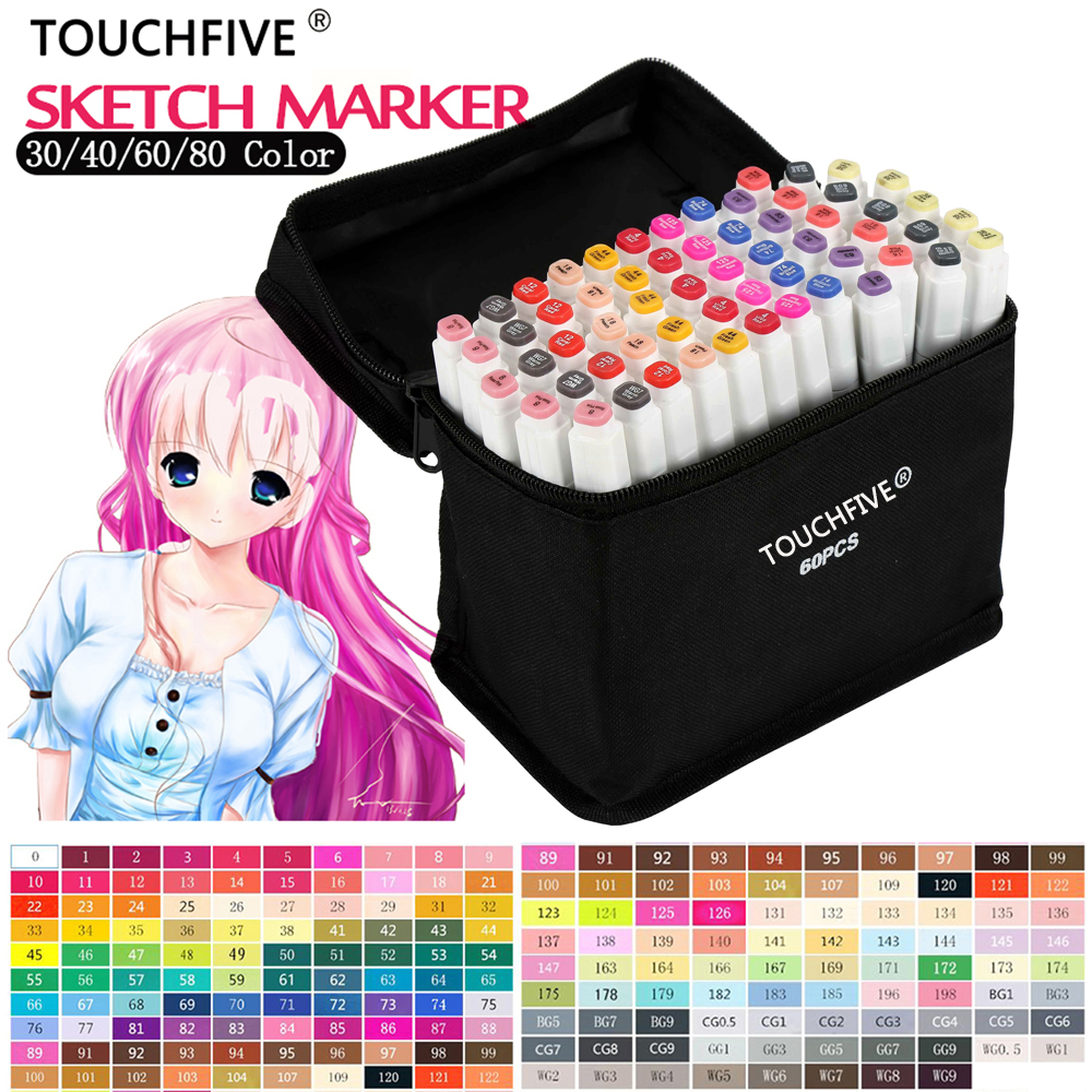 TOUCHFIVE Art Marker 168 colors/set Professional Art Markers Set Double headed Alcohol based Markers For School Supplies kicute 12pcs colorful artist marker double headed sketch alcohol based art marker pen set for office school art markers supplies