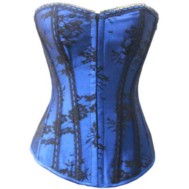 4a896b17e5 Blue Satin   Black Floral Lace Gothic Sexy Corselet Burlesque Corsets And  Bustiers Top Corpete Korset Hot Shapers