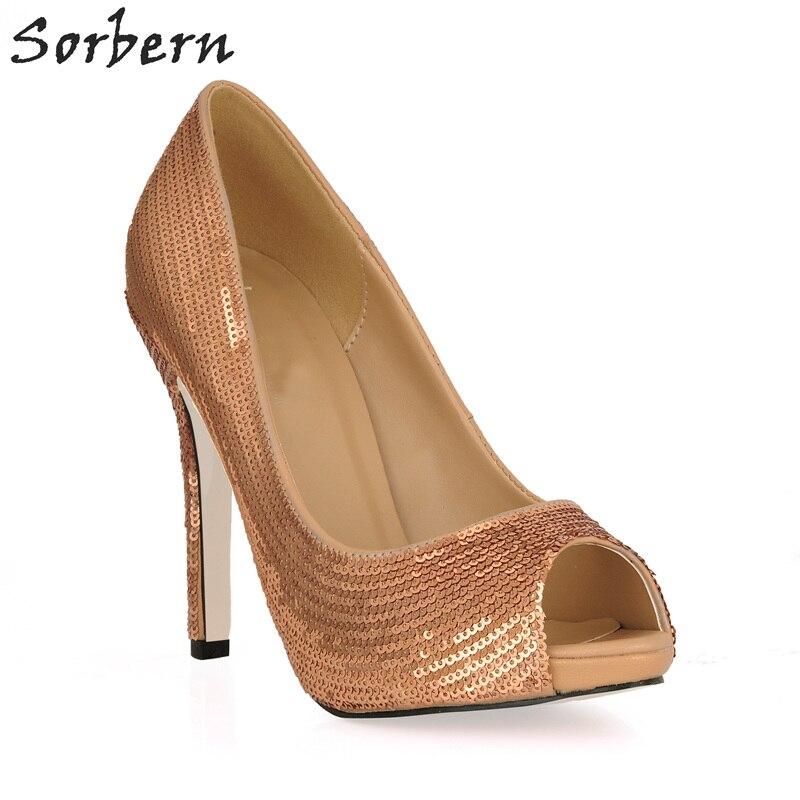 Sorbern Tea Sequins Women Pumps High Heels Size 33 Shoe Designer Shoes Women Luxury 2018 Womens Stiletto Heels Runway Shoes