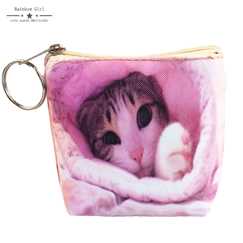 Rainbowgirl New Pu Leather Cat Coin Purse Cute Kids Cartoon Wallet Kawaii Bag Coin Pouch Children Purse Holder Women Coin Wallet