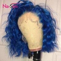 Синий парик цветной боб парик фронта шнурка парики человеческих волос с волосами младенца короткие парики шнурка фронта для женщин черные