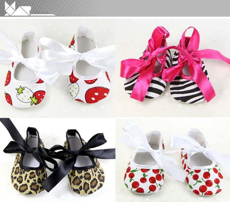 2019 New Newborn Baby Girls Bowknot Riband Shoes Soft Sole Pram Anti-slip Prewalkers First Walker Cute Princess Leopard Shoes