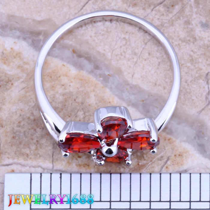 พิเศษดอกไม้สีแดงโกเมนเงินแหวนผู้หญิงขนาด6/7/8/9 D384