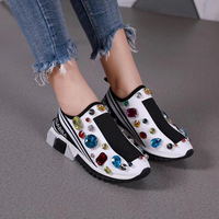 Summer Platform Shoes Women Slip On Sneakers 35 44 Luxury Brand Designers Casual Flats Women Shoes Woman 2019 Black White Yellow