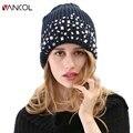 Vancol Brand Winter 100pcs Diamonds Handmade Mens Blue Luxury Warm Beanie Cap Winter Fall Wool Knitted Hat Women Rhinestones
