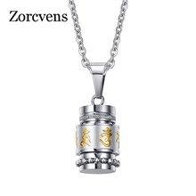 ZORCVENS Ом Мани Падме Хум S кулон цепочки и ожерелья для женщин буддизм стиль вечерние Винтажные Ювелирные изделия из нержавеющей стали