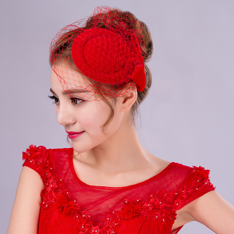 Free Shipping High End White Red Bow Crystals Pageant Wedding Hat Veils Bandeau Blusher Fascinator Birdcage Veil 61227 In Hair Accessories From Women S