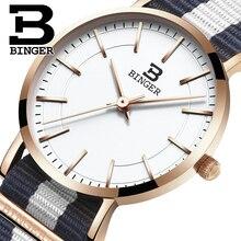 Швейцария БИНГЕР женщины часы люксовый бренд ультратонкий ограниченным тиражом Водонепроницаемый любителей кварцевые Наручные Часы B-3050W-7