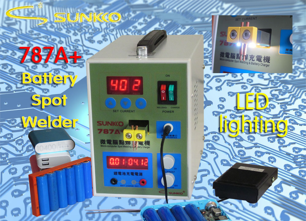220v 110v new upgrade led lighting 788h double pulse precision 18650 spot welder battery welder with usb output for repair 220V New LED Pulse Battery Spot welder Sunkko 787A+ Spot welding Machine with LED light+Nickel Plated strip +Battery Clamp