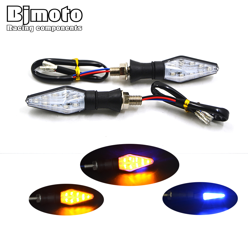 Pair Universal Motorcycle LED Running Turn Signal Light Amber Indicator Tail Light Flowing Blinker Flasher Bike Lamp Stop Signal