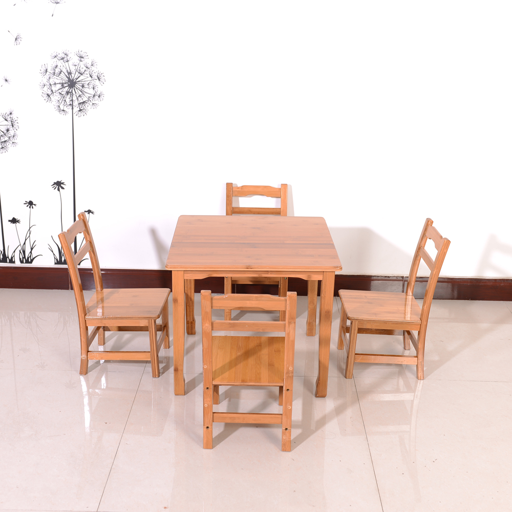 Bamboo Kids Children's Table & 4 Chairs Natural Child Furniture Set US Shipping