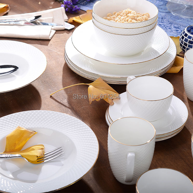 Free Shiping 6 Piece Gold Rim Embossment Fine Bone China Plate Set For Hotel Dining