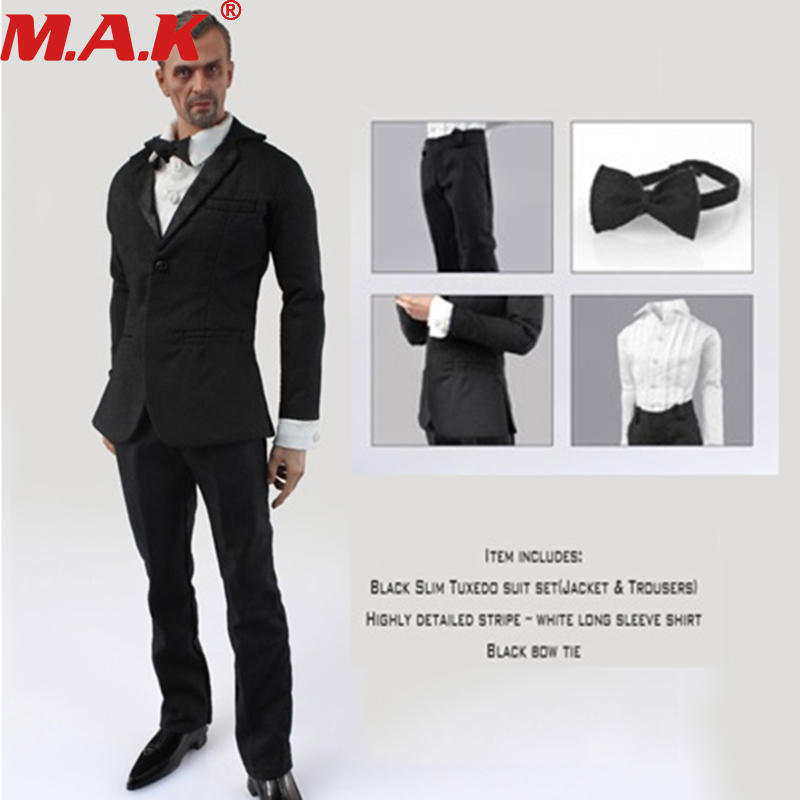 1/6 Scale Male Man Boy Figure Clothes Model Black Suit Clothing Set Fit For 12 Inches Action Figure Model Toy Accessory