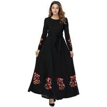 Plus size M-4XL Muslim Abaya Women dress  Long sleeve print Robe Ladies Arabic Abayas Robes