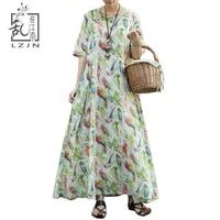 LZJN Ladies Half Sleeve Long Dress 2019 Summer Autumn Parrot Print A Line Maxi Dress Shirt Women Loose Robe Mori Girl Vestidos