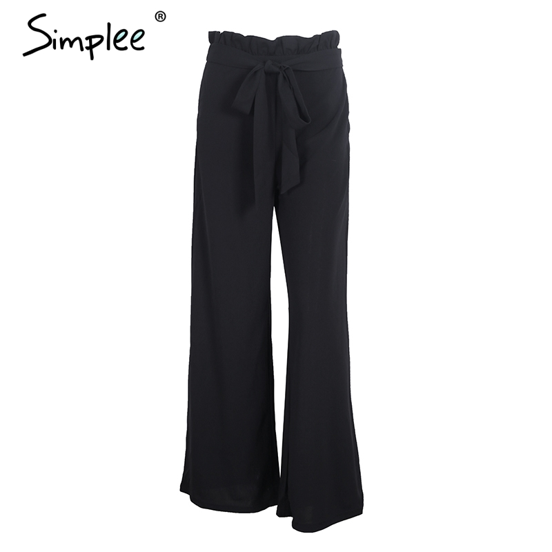 Simplee High waist casual   pants     capris   women bottom Sashes loose wide leg   pants   female 2017 winter   pants   streetwear trousers