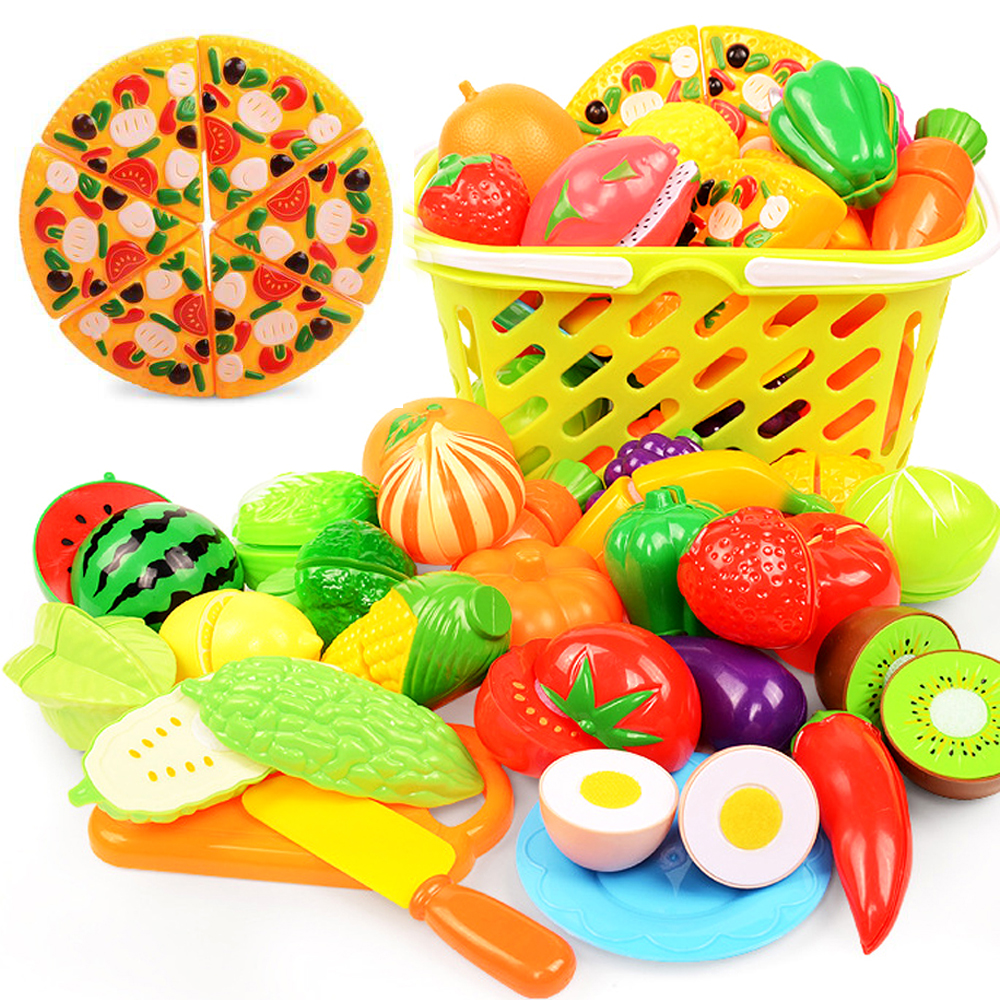 1PCS DIY Fruit Vegetable Food Cutting Toys Children Kitchen Toys Pretend Play Plastic Miniature Food For Dolls Girls Gifts