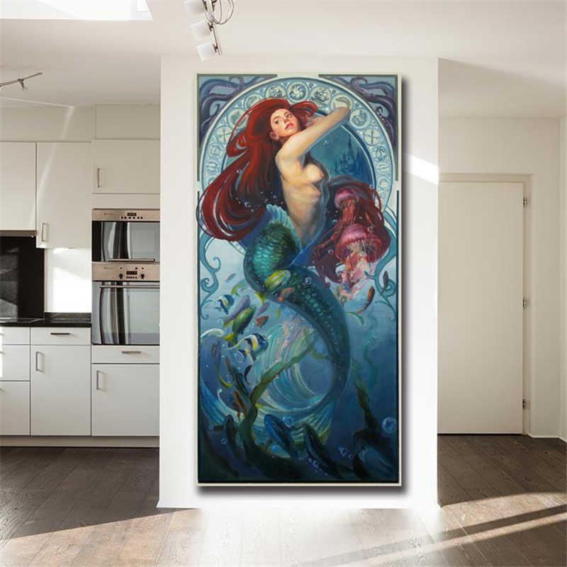 Kucuk Deniz Kizi Prenses Ariel Hd Tuval Posterler Baskilar Duvar