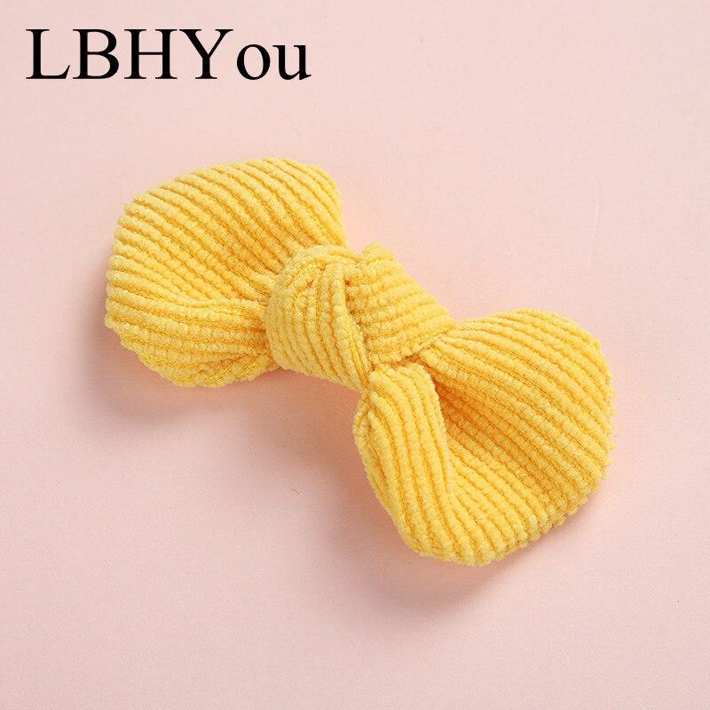 1pcs Cute Bows Baby Hair Clips Princess Girls Corduroy Handtie Hair Barrettes Kids Girls Hairpins Hair Accessories 19 Colors
