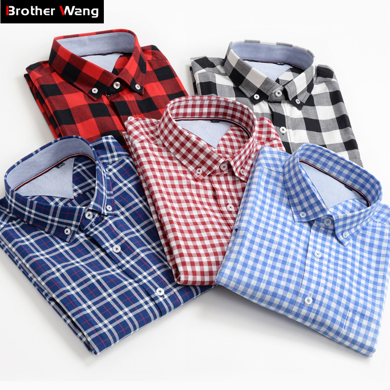 Plus Size Men Shirts 10XL 9XL 8XL 7XL 6XL 5XL Summer New Classic Style 100% Cotton Plaid Short sleeved Shirt Male Brand Clothes