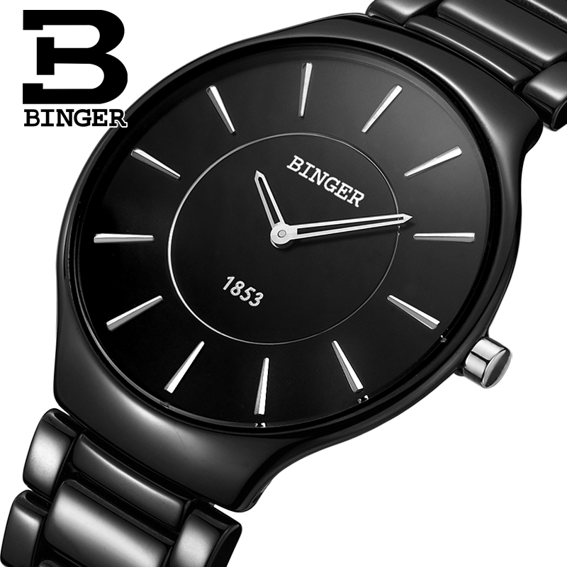 Genuine Luxury Brand Mens watch ceramic Women quartz table BINGER slim and stylish for <font><b>couple</b></font> watches male female free shipping image
