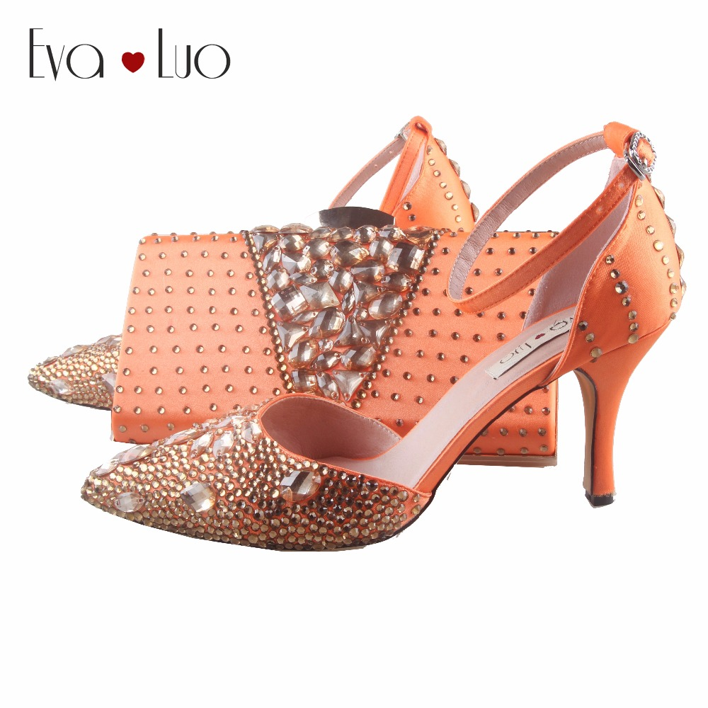 BS913 DHL Custom Made Orange Gold Rhinestones Crystal Shoes With Matching  Bag Set Women Shoes Dress 9d084d6ac757