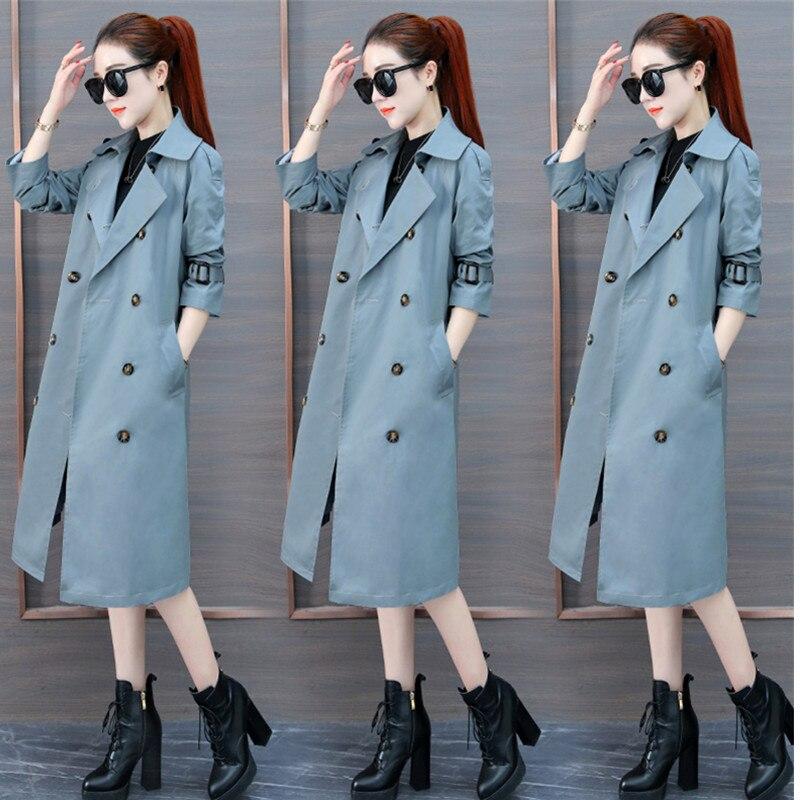 Printemps Longues 2018 Blue pink Manteau Double Couleur black Solide Boutonnage Costume Femmes vent À Augmenter Coupe Automne Mode khaki 3xl Mince Tranchée Col gt4r4qwfd1