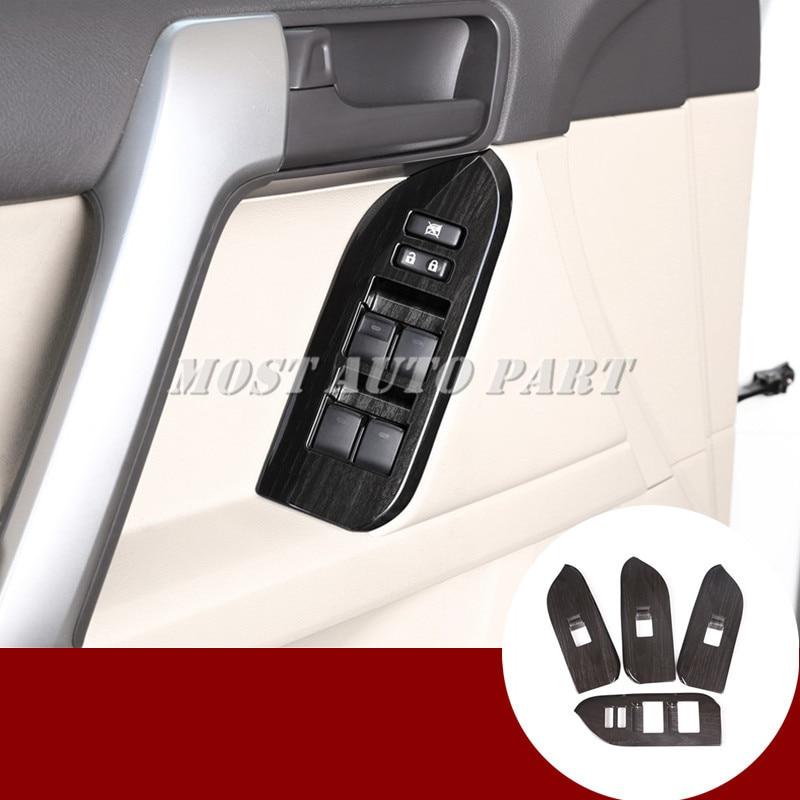 Black Car Door Window Lift Switch Trim Cover For Toyota Prado FJ150 2010 2019