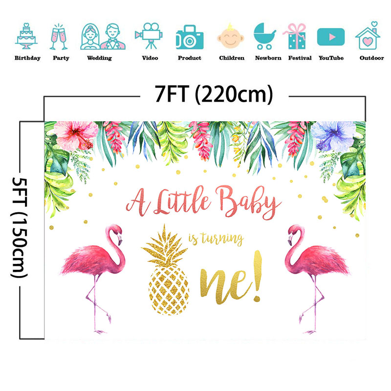 NeoBack Flamingo First Birthday Photo Background Baby Summer Tropical Flower Photography Backdrops Studio Shoots in Background from Consumer Electronics