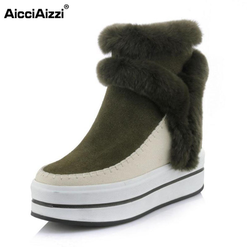 AicciAizzi Women Real Leather Thick Fur Inside Mid Calf Winter Boots Women Thick Platform Shoes Women Warm Snow Botas Size 34-39 rizabina cold winter snow shoes women real leather warm fur inside ankle boots women thick platform warm winter botas size 34 39