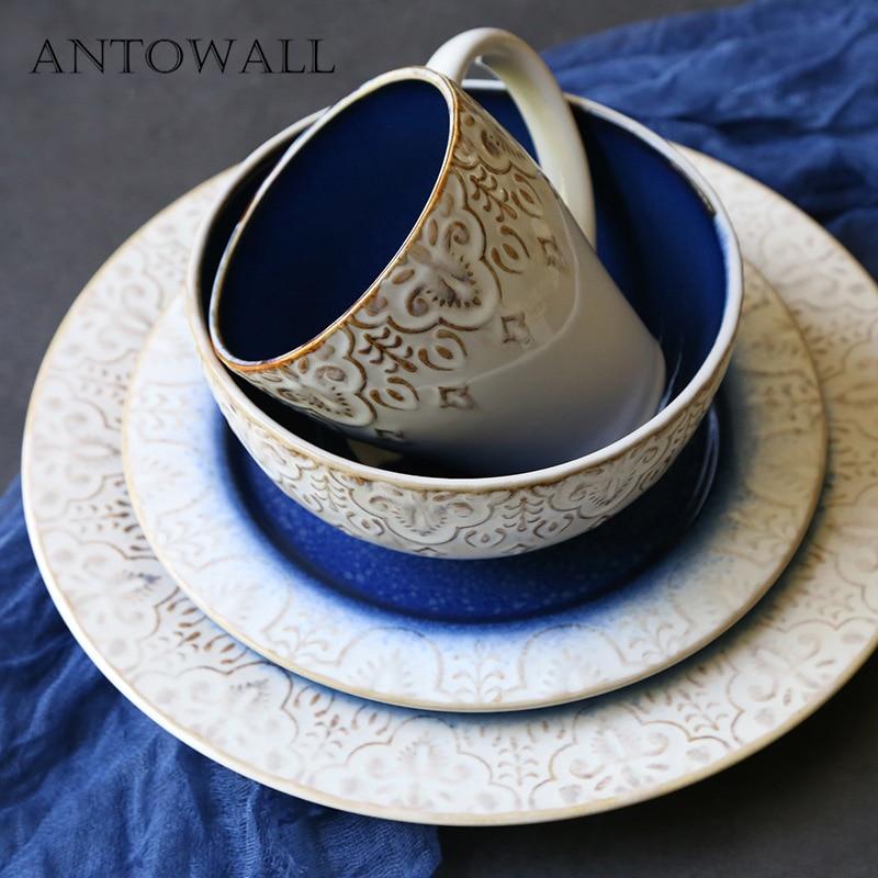 ANTOWALL European retro tableware set embossed plate bowl mug home Western dish large plate salad bowl water mug