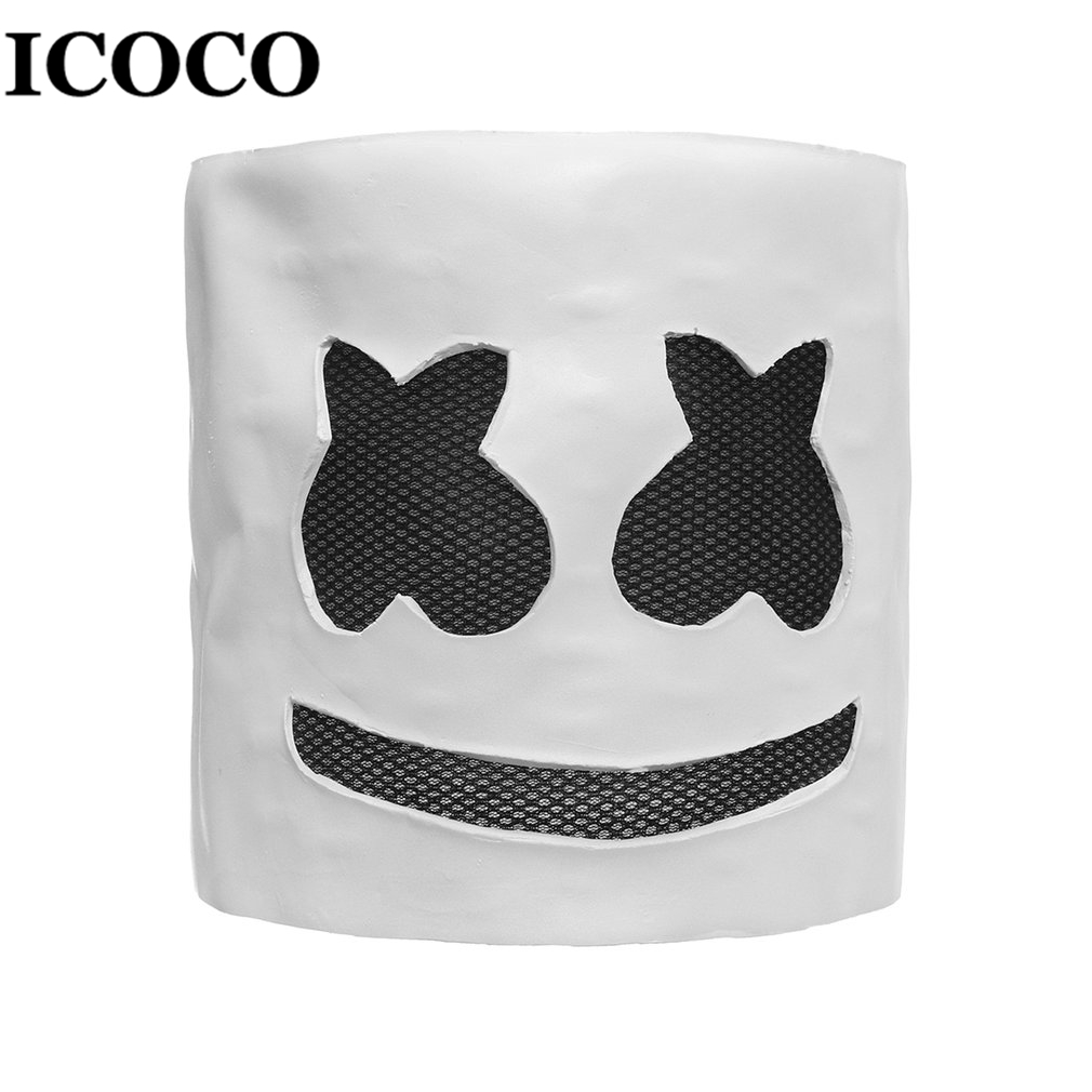 Fashionable Halloween Party Night Club Latex White Mask Adult DJ Marshmallow Mask Cosplay Costume Helmet Sale|Novelty Lighting| |  - title=