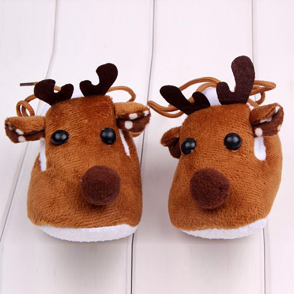 Lovely Winter Xmas Elk Deer Style Baby Girl Boys Crib Shoes Plush Fleece Shoes Free Ship ...