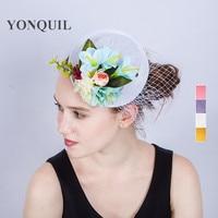 4 Kolory Kapelusze Ślubne Dla Narzeczonych Ślubne Damskie silk flower mini top Hat Fascinator strona Akcesoria Ślubne Welon SYF204 chluba