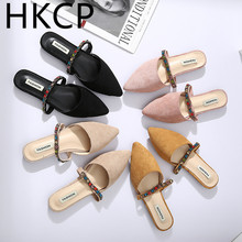 HKCP Slipper ladies 2019 new style square heel, pointed baotou sandals fashion slipper wear slippers in summer C176
