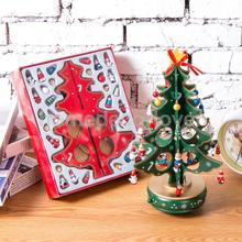 2018 New Year Gifts Kids DIY Wooden Christmas Tree with Bells and Music Party Decoration Christmas Decor Xmas Standing Ornaments