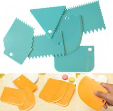 6pcs/set Plastic Cake Scraper Dough Fondant Decorating Baking Tool Pastry Spatulas Jagged Edge Cutters